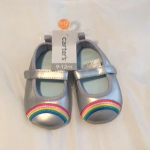 Adorable baby girl silver/rainbow Mary Janes